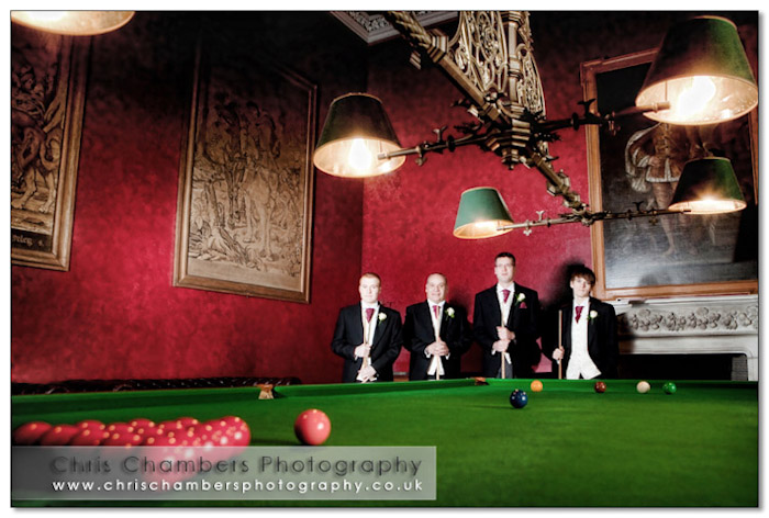 The guys in the billiard room at Allerton Castle. Allerton Castle wedding photography