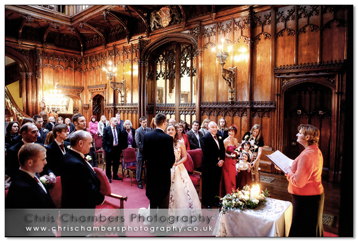 Civil wedding ceremony in the Great Hall at Allerton Castle. Wedding photograph from Chris Chambers.