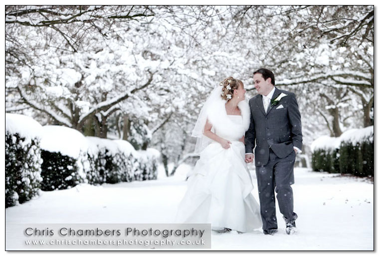 Winter wedding photography at Hazlewood Castle in North Yorkshire. wedding photographer Chris Chambers