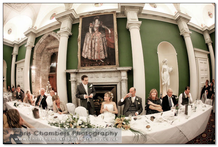 During the wedding speeches at Hazlewood Castle in North Yorkshire