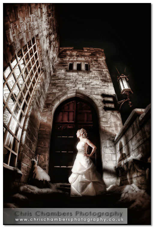 Hazlewood Castle at Night Wedding photography Chris Chambers