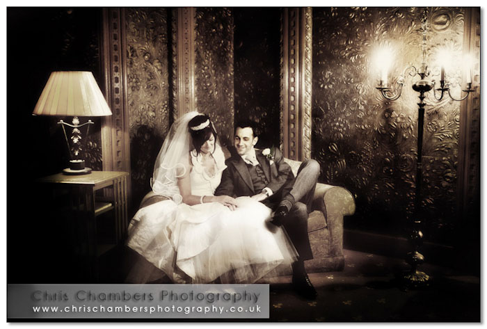 Bride and groom at Hazlewood Castle near York