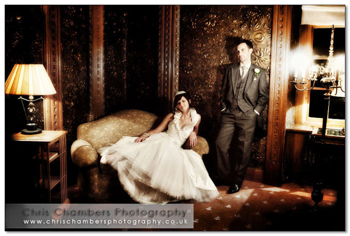 After dark wedding photos at Hazlewood Castle wedding venue