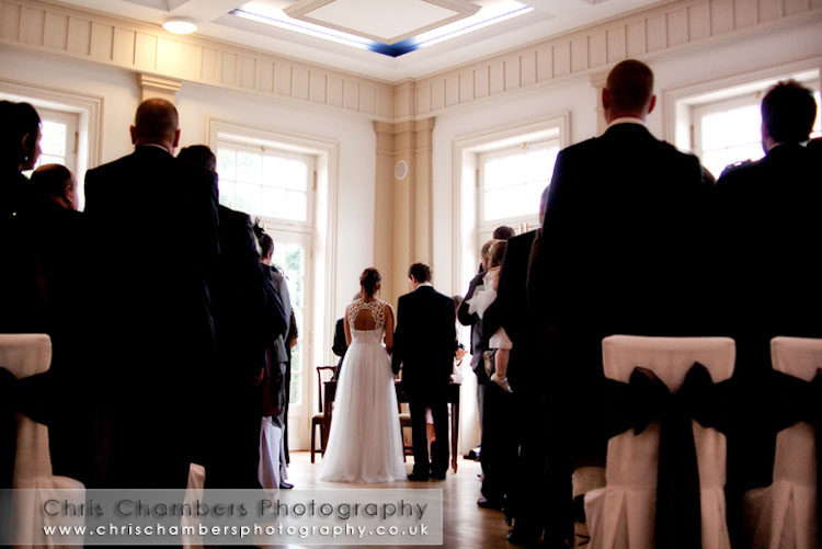 During the civil wedding ceremony in Hodsock Priory's pavilions