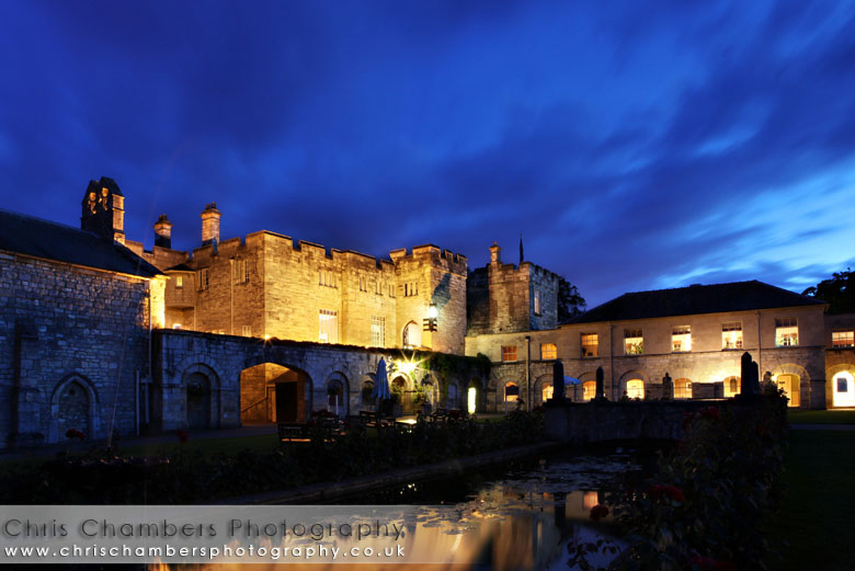 Hazlewood castle at night
