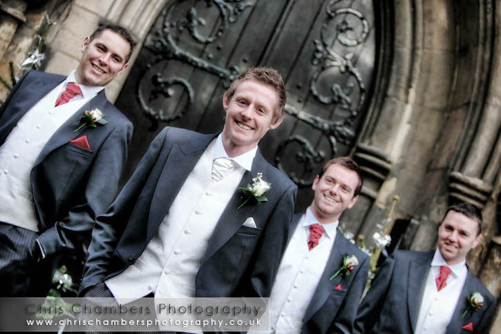 Mark and his groomsmen outside the church at Garforth