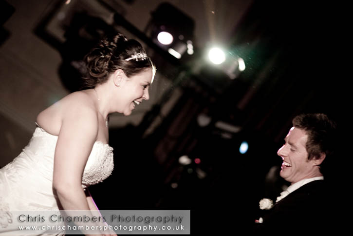 During their first dance at Wood Hall Hotel and Spa.