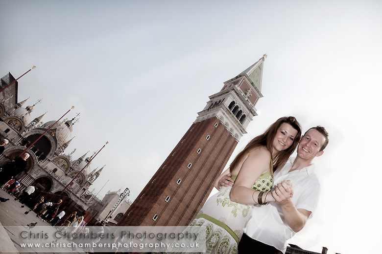 Bride and groom in St Mark's square